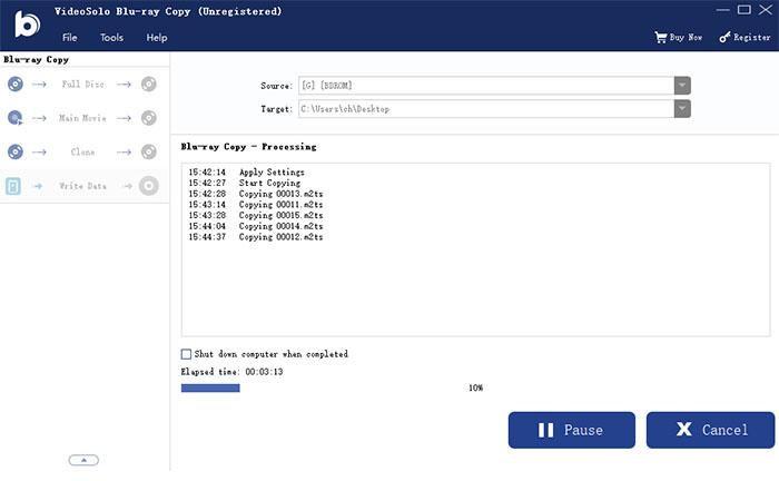 Скопируйте папку BD или файл ISO на пустой диск Blu-ray