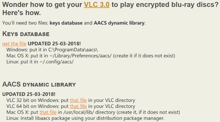 VLC-Schlüsseldatenbank AACS Dynamic Library
