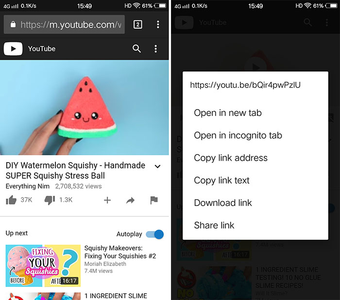 Copy YouTube Link in Android
