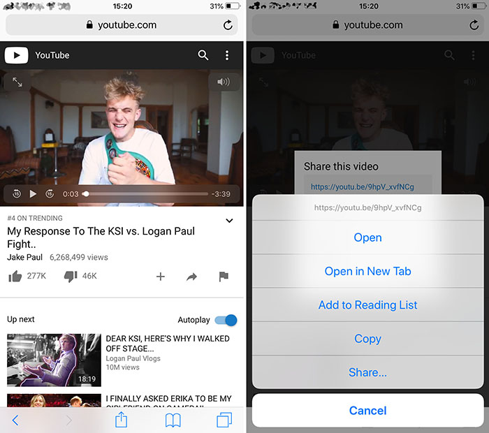 Copy YouTube Link in iPhone