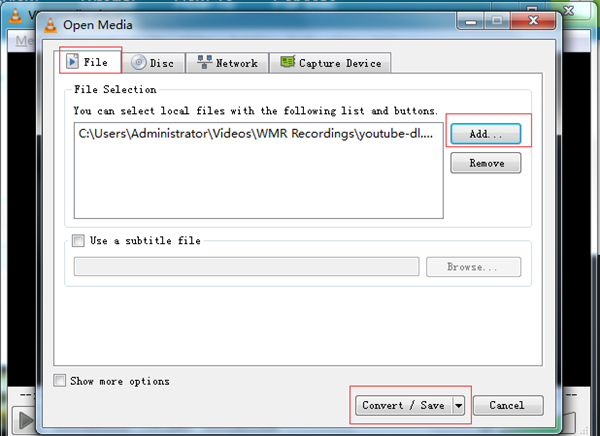 Add FLV File to VLC