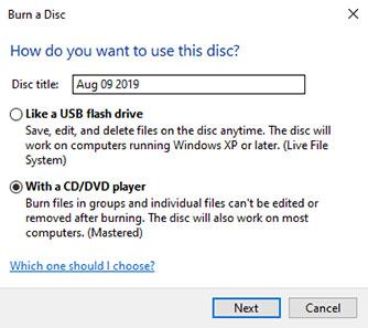 Choose DVD Disc Type