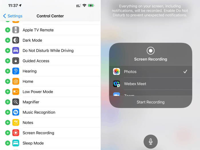 Settings of Control Center and Start Screen Recording of iPhone