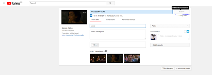 Fill Video Information And Wait