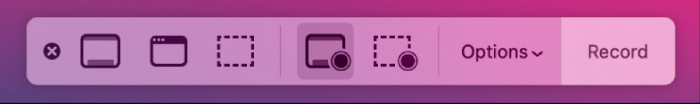 Screen Recording Options of QuickTime Player on Mac
