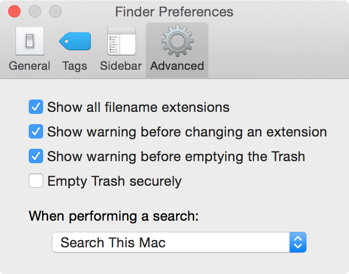 Show File Name Extensions on Mac