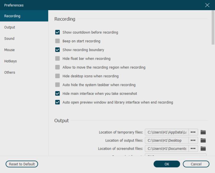 Recording Settings of VideoSolo Screen Recorder