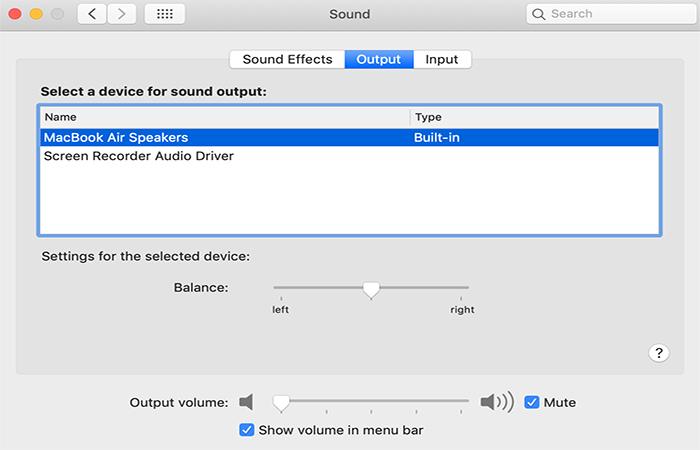 Choose Sound Output on Mac
