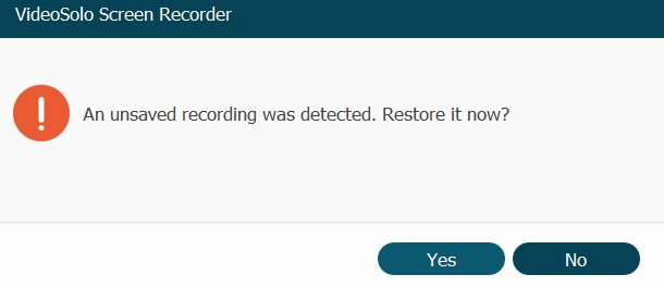 Unsaved Recording Detected Window
