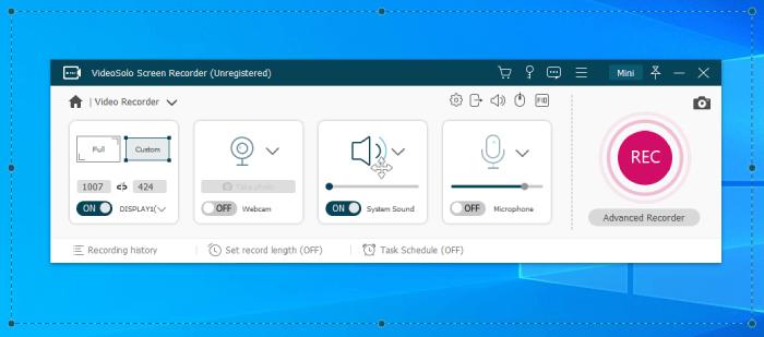 Video Recorder Mode of VideoSolo Screen Recorder