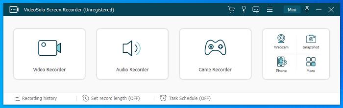 Main Interface of VideoSolo Screen Recorder