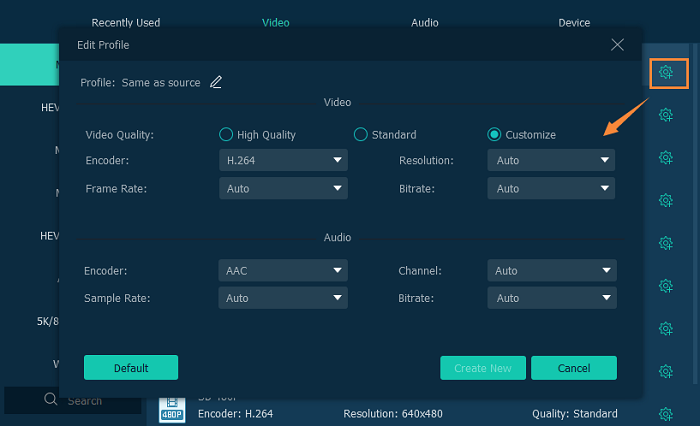 Customize Output Settings for MP4
